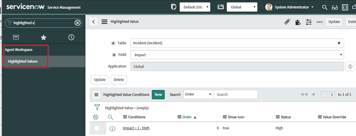 ServiceNow Agent Workspace Highlighted Values