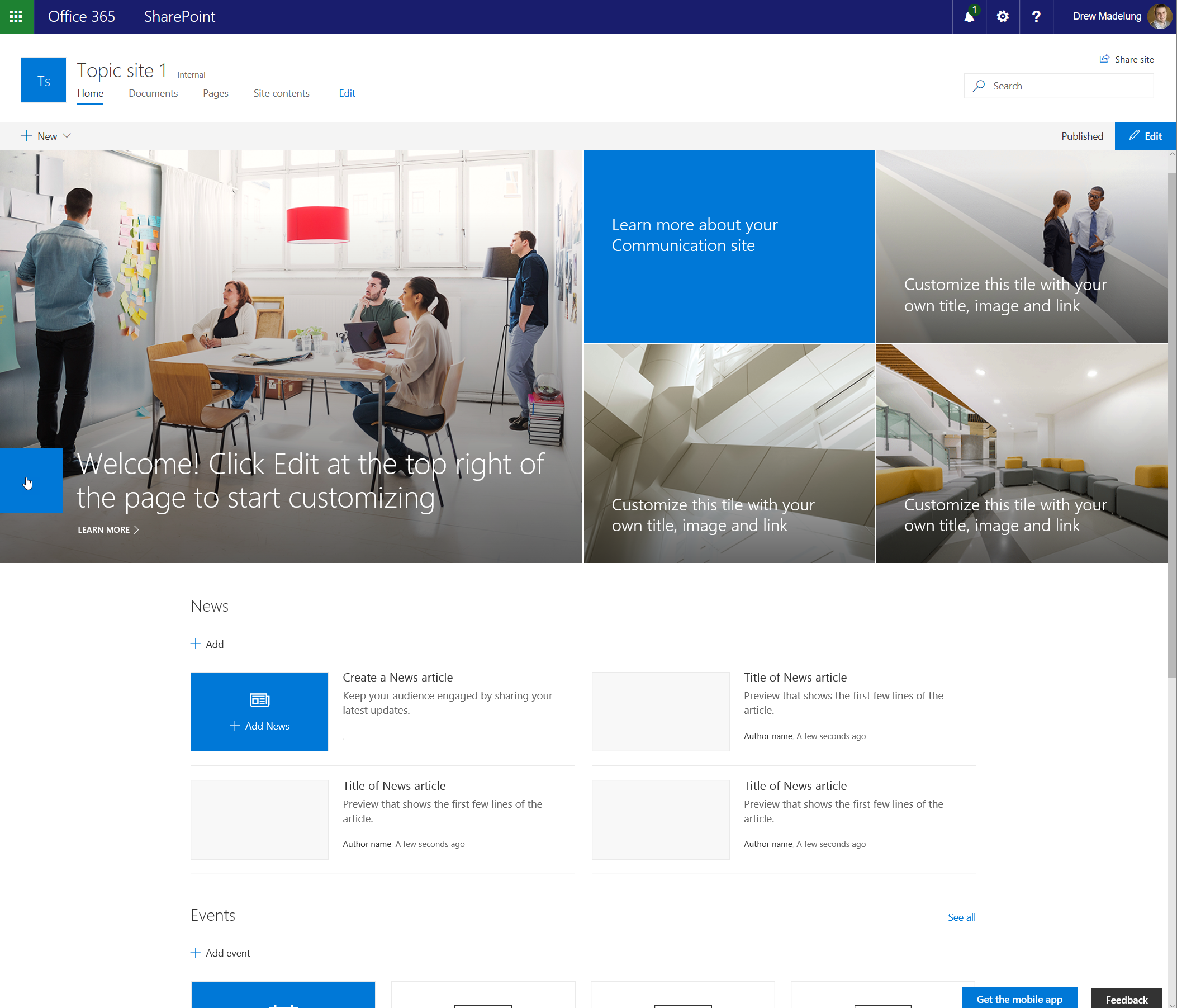 First look at communication sites in sharepoint online concurrency this site contains the following web parts on the landing page by default pronofoot35fo Choice Image